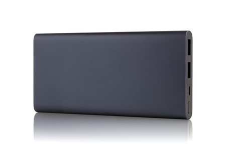 Power Bank on a white background. External battery for recharging isolated on white background.