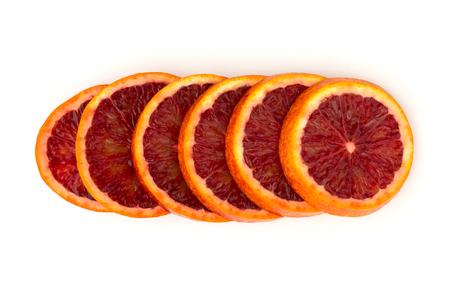 Bloody orange on a white background. Red orange cut into slices on a white background.