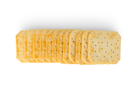 Crackers on a white background. Salty crackers close up on a white background.