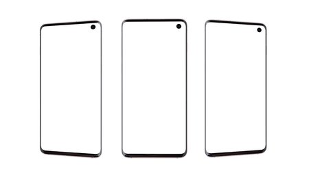 Smartphones with a blank white screen. Three smartphones on a white background.