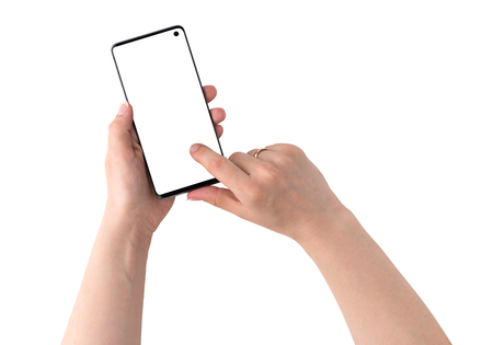 Smartphone with a blank white screen. New popular smartphone in hands on white background.
