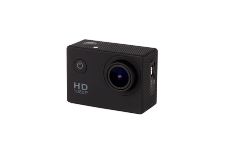 Action camera on a white background. Black portable camera close up on a white background.