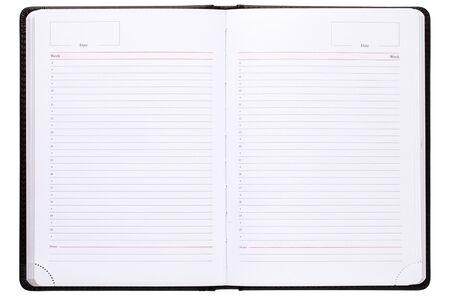 Notizbuch auf weißem Hintergrund. Öffnen Sie den Notizblock, der auf weißem Hintergrund lokalisiert wird.