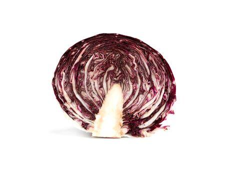 Radicchio isolated on white background. Fresh Radicchio salad cut in half.
