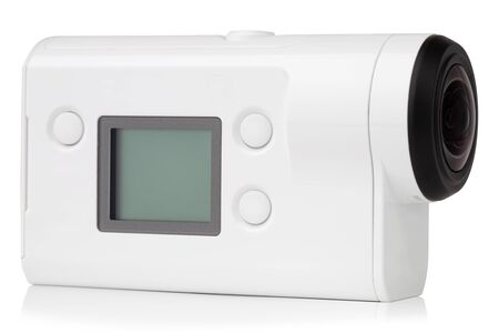 Portable video camera on a white background. Action camera close up. 版權商用圖片