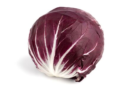 Radicchio isolated on white background. Fresh Radicchio salad closeup on a white background.