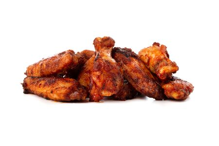 Fried wings close-up. Buffalo wings isolated on white. Stockfoto