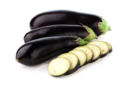 Eggplant on a white background. Fresh eggplant close up on a white background. Stock fotó
