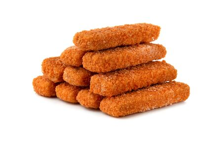 Fish fingers on a white background. Frozen fish fingers close-up.