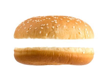 Bun isolated on a white background. Two parts of burger rolls close-up. Stockfoto