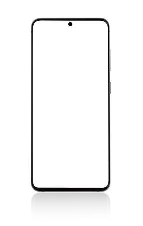 Smartphone with a white screen. Smartphone with blank screen Isolated on a white background.