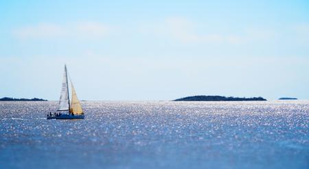 Beautiful Sailboat in the Ocean 写真素材