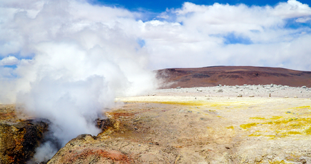 Geyser Field Sol De Manana, Altiplano, Bolivia, South America Stock Photo
