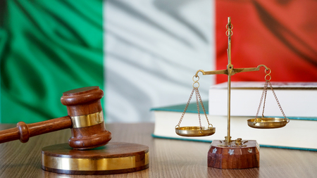 Justice for Italy Laws in Italian Court Stockfoto