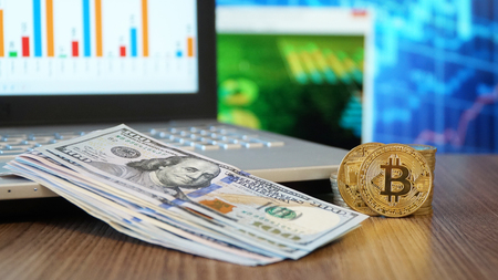 Bitcoin Digital Money and Dollars 写真素材