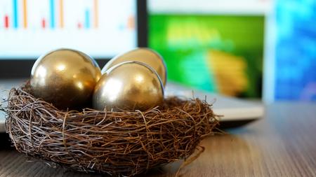 ゴールデンエッグ。ビジネスと投資コンセプト。