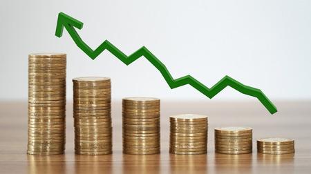 成長不動産の概念のコインのスタック。