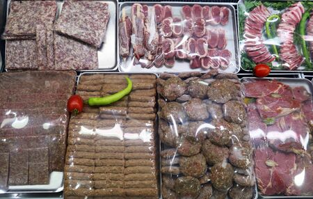 Raw Meat in Assortment in a Butcher Shop