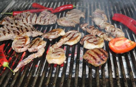 Beef Steaks and Vegetables on the Grill