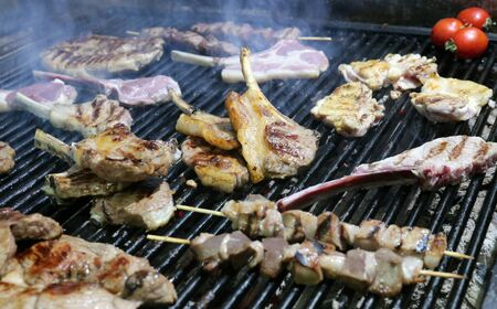 Beef Steaks, Bratwurst, Chicken and Meatballs Skewer on the Grill