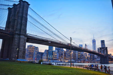 brooklyn bridge at evening
