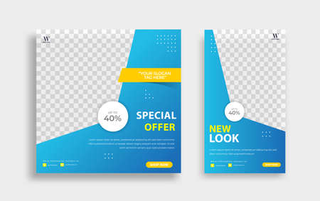 Set of Editable minimal square banner template. Blue background color with stripe line shape. Suitable for social media post and web internet ads. Vector illustration with photo college