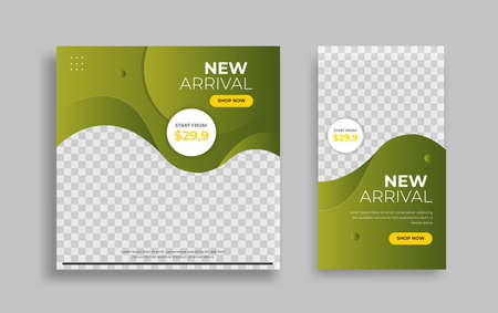Creative modern Set sosial Media post and story design template for promotion, internet ads. Vector.