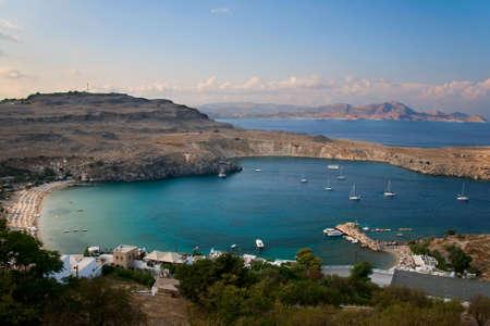 lindos: Small bay near Lindos, island Rhodos, Greece with boats.