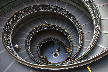 The spiral steps at the vatican museum in Rome Italy