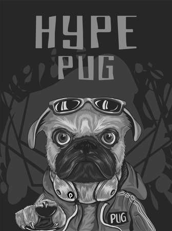 pug dog with hype style wear red sweeter, sunglasses, headphone, serious look, for poster, flayer, t shirt, with abstract dark background Illustration