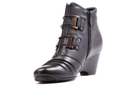 peep toe: Stylish female boots of black colour of graceful modern design.