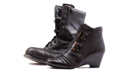 Rough leather footwear for work and productive leisure. Protection of feet in difficult conditions. Stock Photo - 8275660