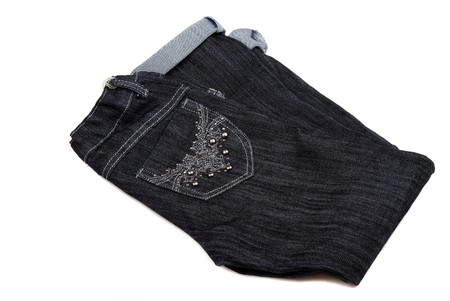 pastes: Black jeans with a beautiful embroidery on a pocket and pastes.