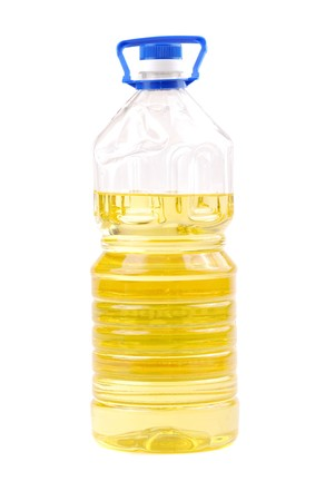 sunflowerseed: Bottle of sunflower-seed oil of yellow colour, natural, on a white background.