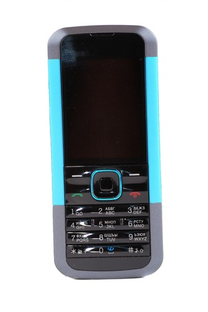 Mobile phone of black colour with buttons and the screen. photo