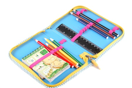 integer: School case with a set of handles of pencils and a black ruler. Stock Photo