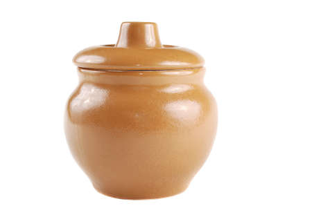 Brown pot for cooking with a cover Stock Photo - 8276230