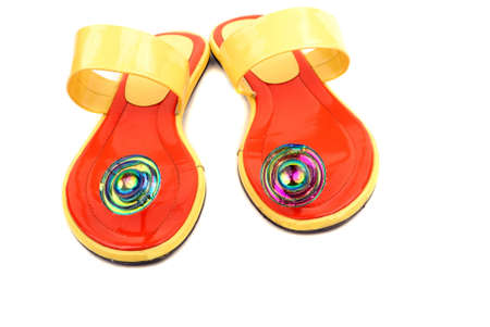 buckles: Orange elegant barefoot persons on a thin sole with buckles