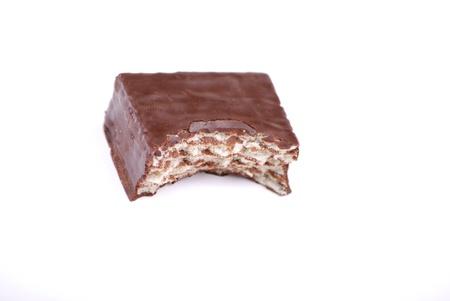 Chocolate wafer taste, breakfast at office. photo
