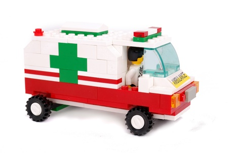 privileged: Emergency ambulance car,isolated on white background.