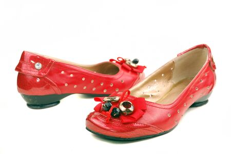 red shoes for women on a white background photo