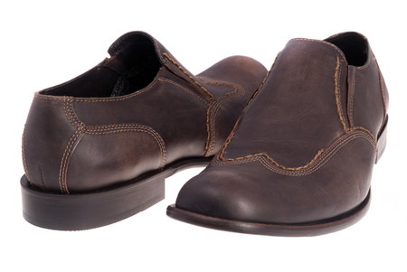 shoestrings: Brown shoes isolated on the white background