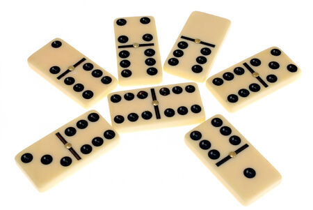 regimented: Bones of dominoes with points isolated on white background