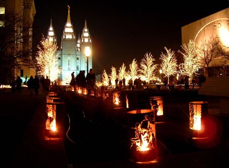 Mormon temple christmas lights night photo