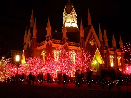 mormon temple: Mormon temple christmas lights night