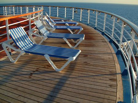 cruises: Deck chairs on deck of cruise ship