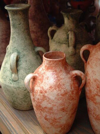 Pots group on shelf clay