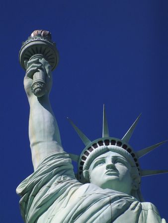 immigrants: Statue of Liberty closeup detail Stock Photo