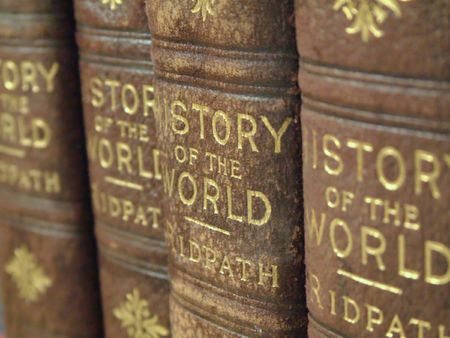 closeup picture of a row of old history books Stock Photo - 579240