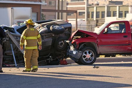 Car accident with emergency people investigating the scene Stock Photo - 585564